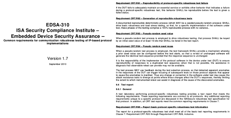 EDSA 310 Trames de test